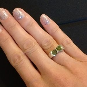 Green CZ Sterling Silver Gemini Ring Size 6